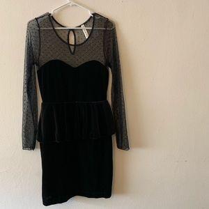 Lovely Day black velvet peplum dress